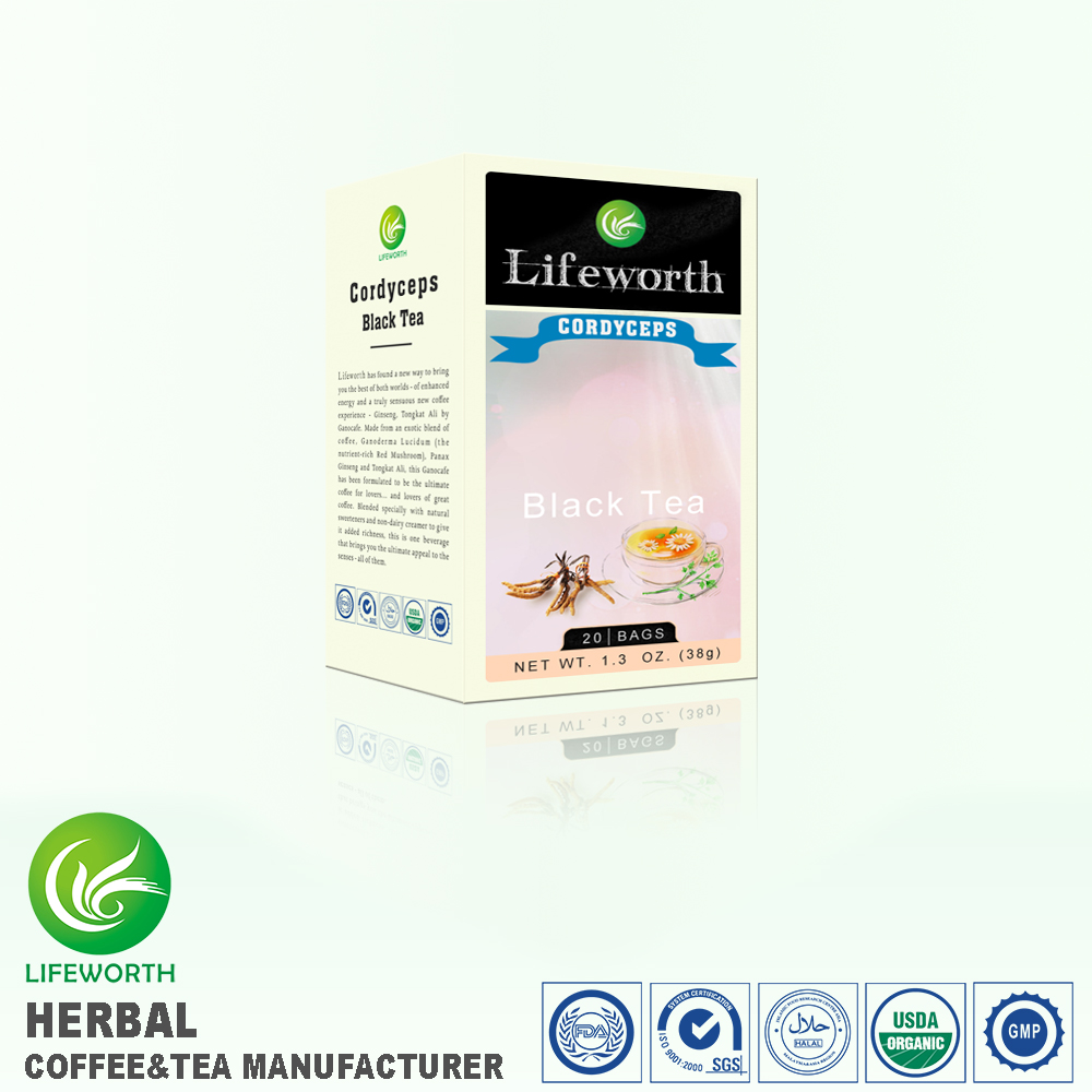Lifeworth malaysia organic cordyceps black instant decaffeinated tea with superior quality