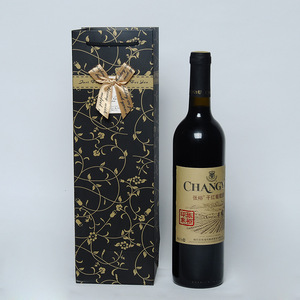 Cheap Price Elegant Luxury Custom Printed Gift Wine Bottle Paper Bags With Handles