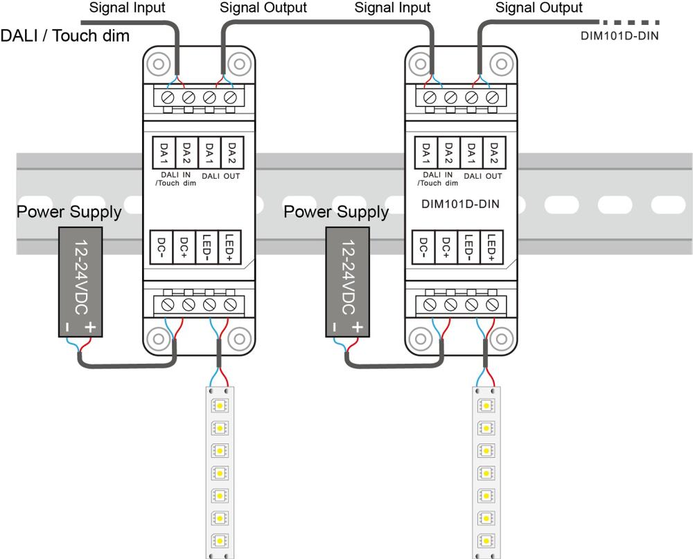 Din Rail Led Dimmer 12v 24v Dc 10a Constant Voltage Dali