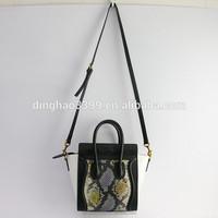 Own brand leather handbag snake skin leather lady tote bag smile face handbag