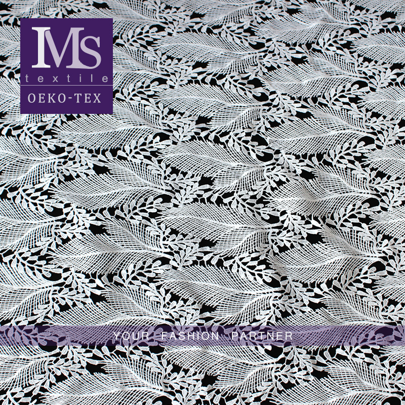 Cheap wholesale african crochet lace fabric chemical lace embroidery leaf pattern bridal lace fabric