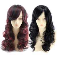 2018 Top quality heat resist synthetic wigs black women adjustable elastic band natural long curl ombre wigs