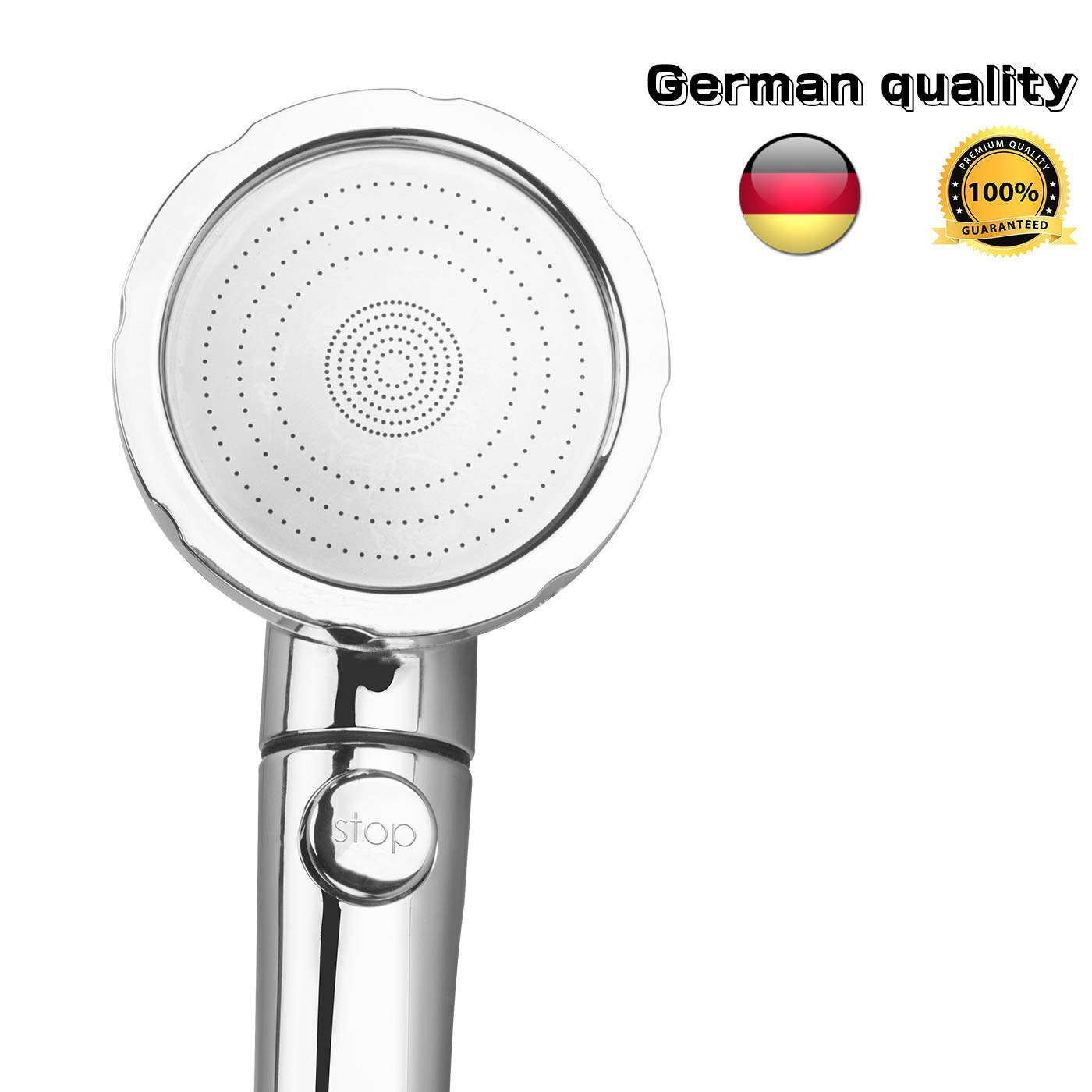 Detachable Shower Head, Handheld Shower Head with Pause Switch High Pressure shower head German Craft 3-settings Water Saving Luxury Shower Head Replacement (Chrome-2)