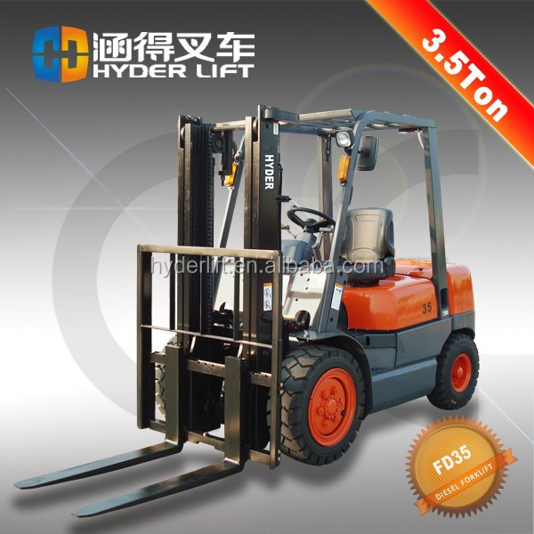 Economic 3500kg diesel forklift truck with high lift jib