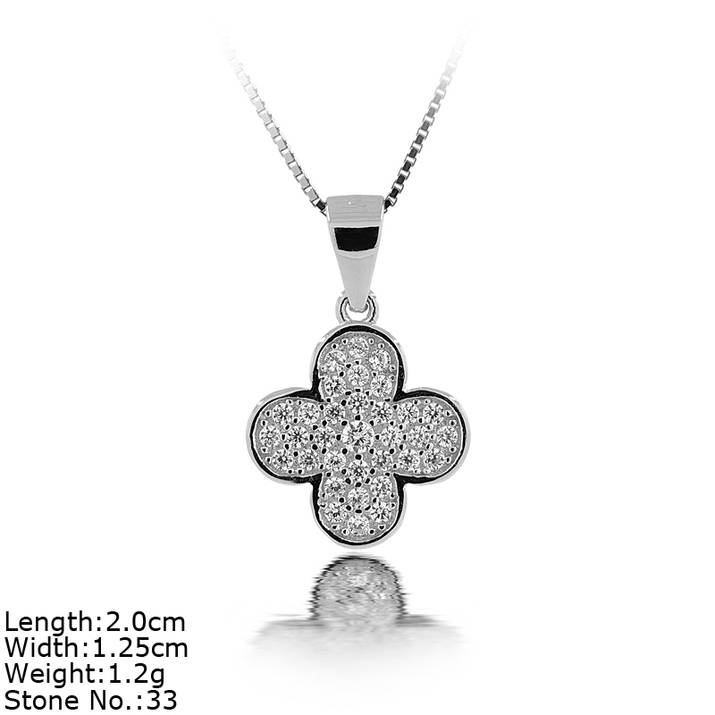 PZA2-QC6 Pendant in Sterling Silver with CZ Stones FourLeaf Clover Pendant Design
