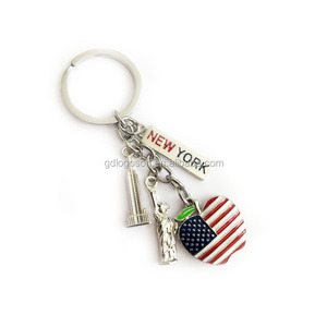 America New York Keychain Metallic Souvenir Metal Key Ring Charms Statue of Liberty USA Keychain
