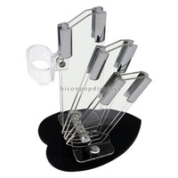 Retail Store Promotional Custom Black Stand Counter Top 3 Pockets Pure Acrylic Knife Display Cases