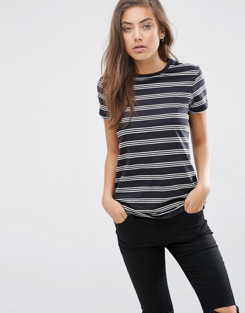 Promotional Round Neck T Shirt Stripe Women Tshirt Customized Printing Design Men's T-shirt
