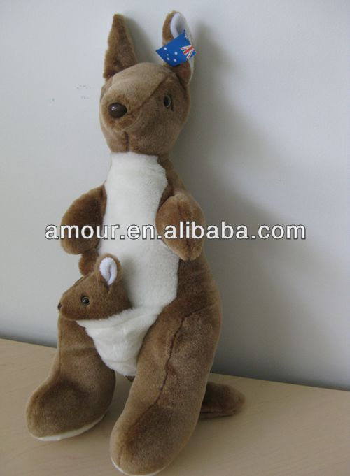 "20"" TALL STUFFED KANGAROO WITH BABY IN POCKET NEW AUSTRALIA FLAG TAG kangaroo doll stuffed animal toy sale"