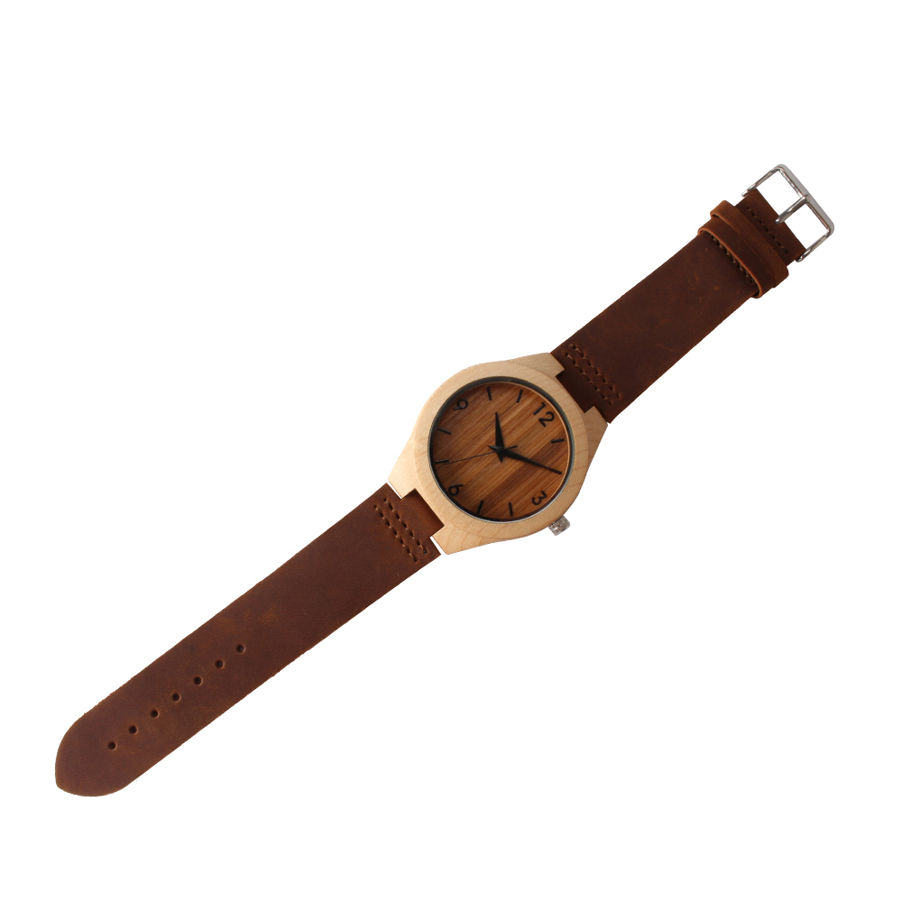 Retro Appearance Wood Watch For Male and Female Custom Watches Hot Sale Wooden Watch Genuine High Quality leather Strap