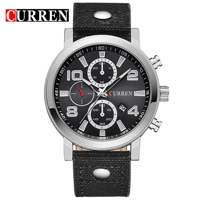 6202536e9e1 Curren 8199 Relógios de Marca de Topo Homens de alta Qualidade de Negócios  Data Nylon Exército