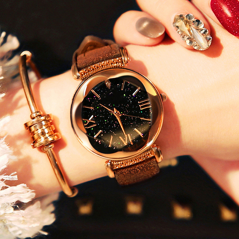 New Arrival Luxury Women Watches Elegance Dress Ladies Watch Rose Gold Star Dial Clock Watch