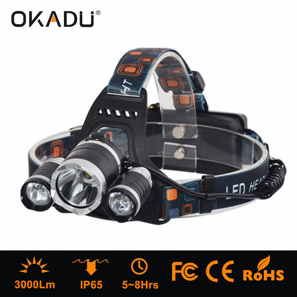 Factory New Waterproof Custom Elastic Bands High Power Dual Light <strong>Source</strong> 3 XML T6 5000 Lumen Rechargeable LED Headlamp