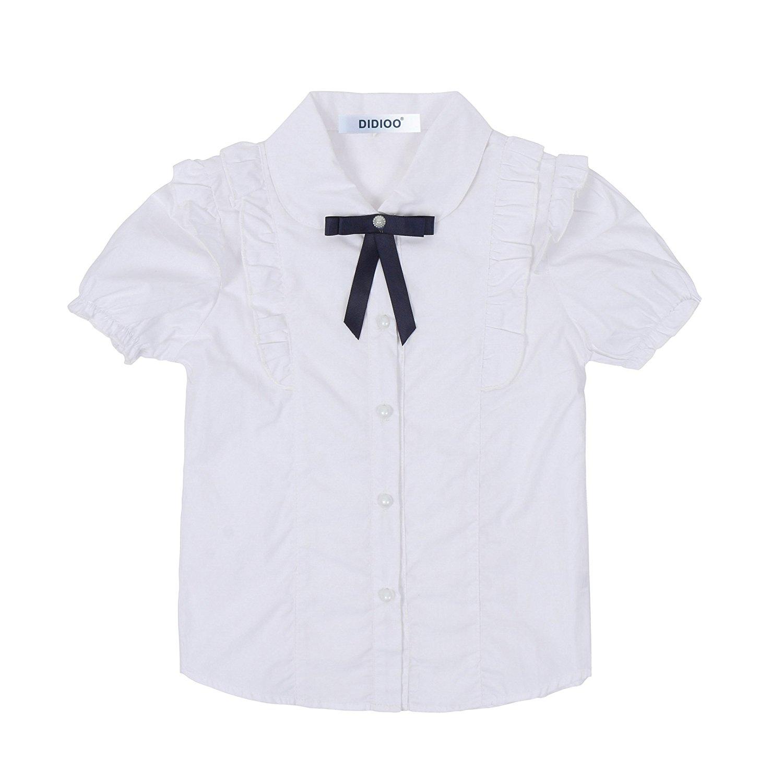 c50e2c498 Girls Short Sleeve Ruffles Blouse School Uniform Shirts White Bow Tops for  Girls