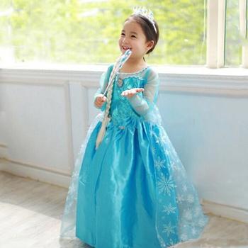 2a073e6d31b98b Hot koop baby leuke meisjes elsa dress cosplay kostuum in frozen elsa anna  prinses jurk