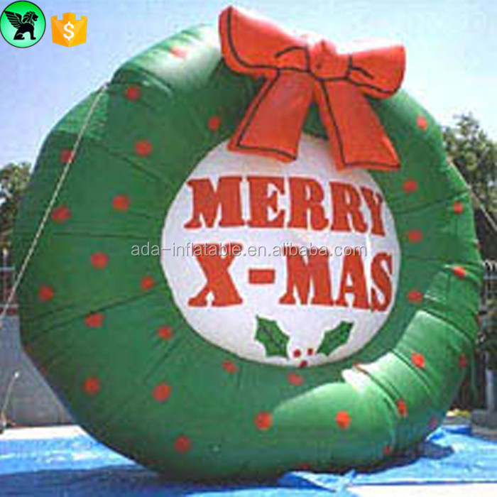 2017 Striking Inflatable Promotional MERRY X - MAS Wreath Outdoor Christmas Event Decoration W01011