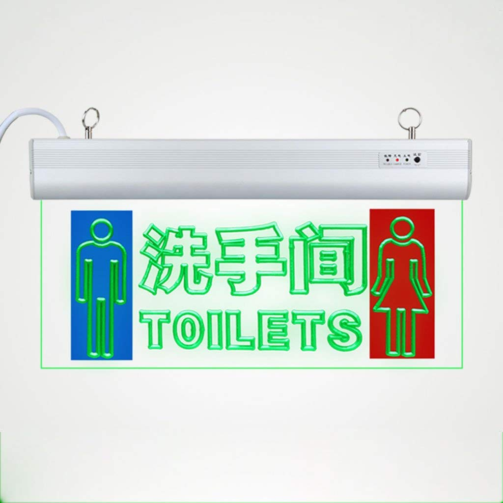 WC Door-Signs Toilets Safety Exit Indicator Light LED Transparent Acrylic Indicators Men & Women Toilet Labels Fire Emergency Light (Color : White-G)