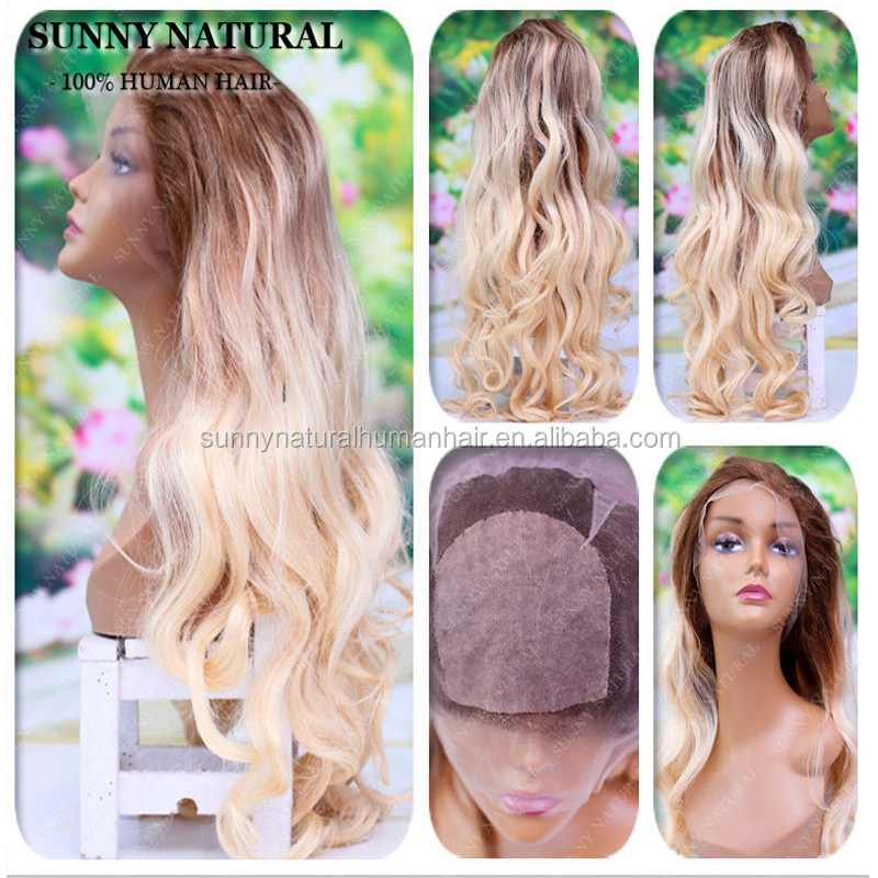 Ombre 4/613 Blonde Human Hair Wig Silk Top