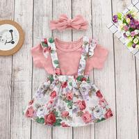 Kids Casual Clothing Set 3Pcs Toddler Girls Overalls Skirt+Headband+Romper Clothes Baby Outfits M90313