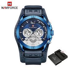 Naviforce мужские часы, кожаные армейские военные Ретро стимпанк спортивные мужские кварцевые наручные часы с датой Hodinky Relojes Hombre(China)