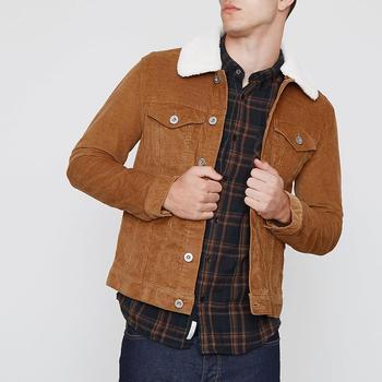 Borg Fleece Premium Tan Men Corduroy Coat Windbreaker Spring Autumn