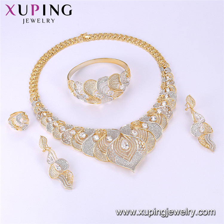 SET-1 Xuping 4 price necklace+earring+bracelet+ring Environmental Copper Gold Plated custom heavy jewellery set manufacturer