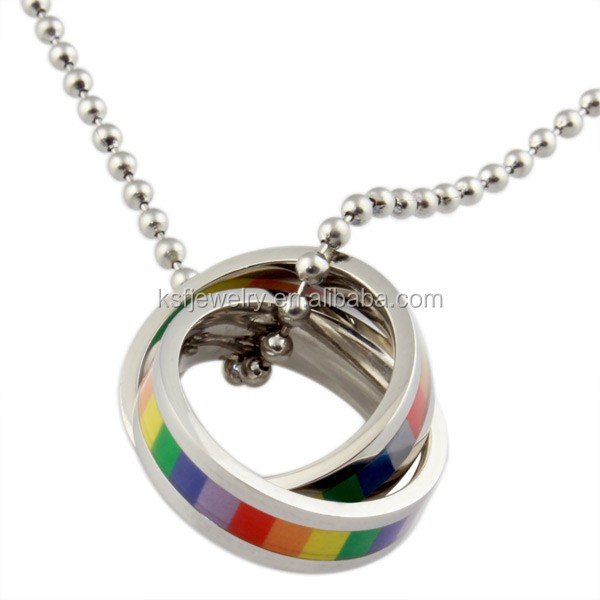 Stainless Steel Satin Finish Round ring pendant necklace, gay pride pendant