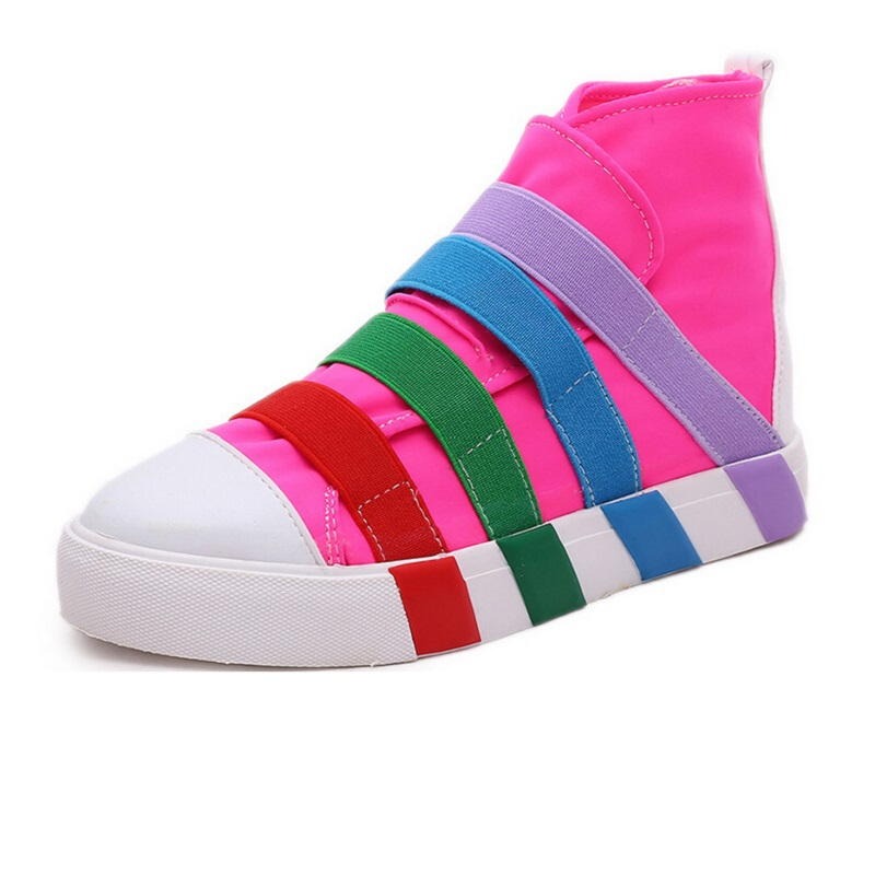 Candy Rainbow Colored high-top Shoes Casual Shoes Fashion Lady Elastic Cloth Canvas Shoes Student Shoes Flat Shoes