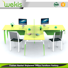 Custom Melamine And Metal Working Staff Office Table Design 4 Seat Cubicle Modular Office Workstation