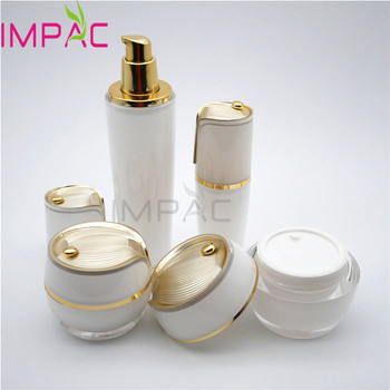 Cosmetic empty face care set packaging with lotion bottle and cream jar