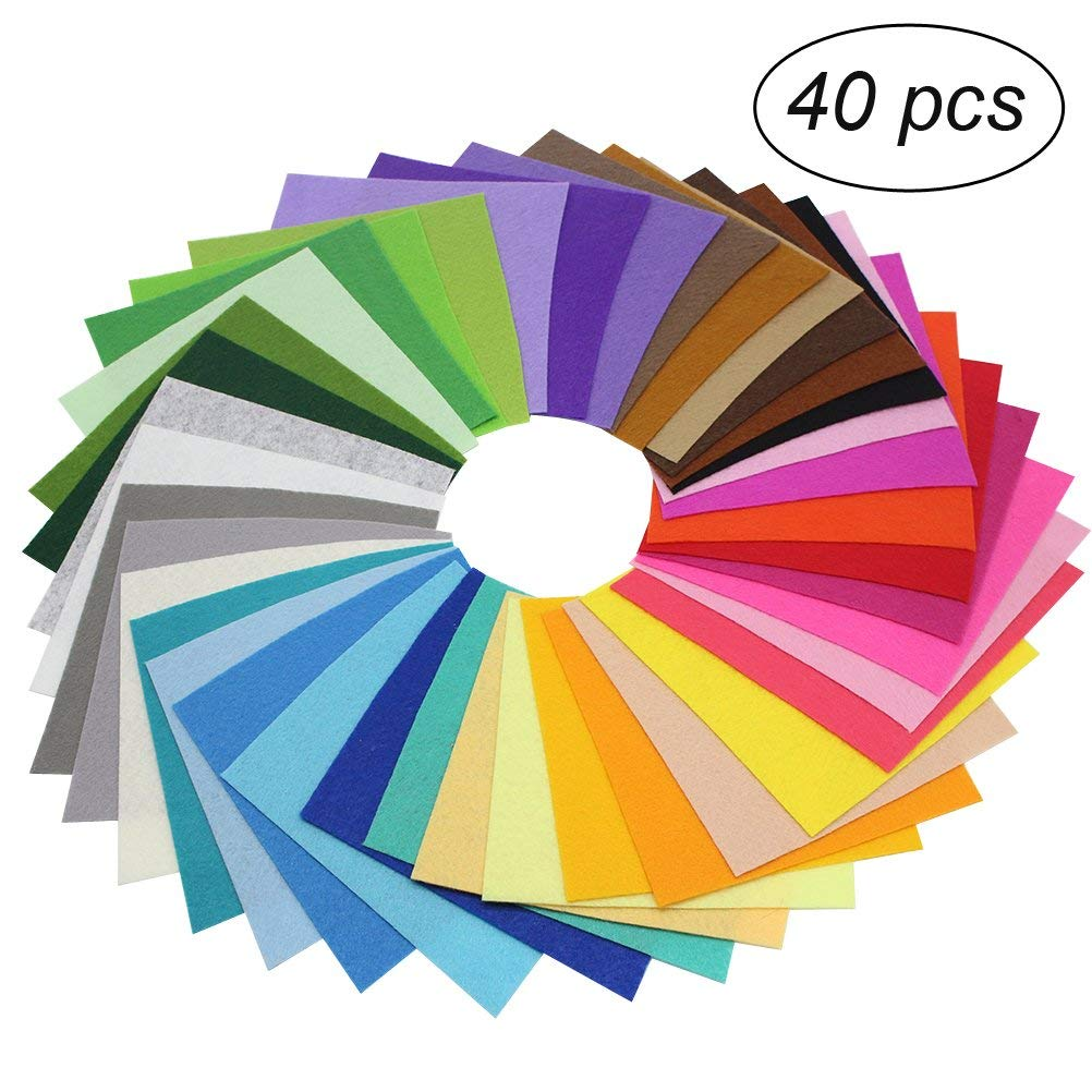 ULTNICE 40pcs Craft Felt Fabric Sheets Felt Material For Sewing Patches Assorted Color