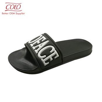 1ef5c50f719edd china factory cheap slipper black printing logo custom slide sandal ...
