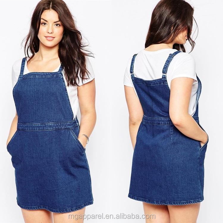 Wholesale Fat Women Dresses Plus Size Pinafore A Line Girl Denim