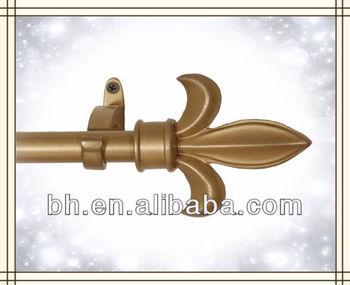 Fleur De Lis Curtain Rod And Finials Antique Gold