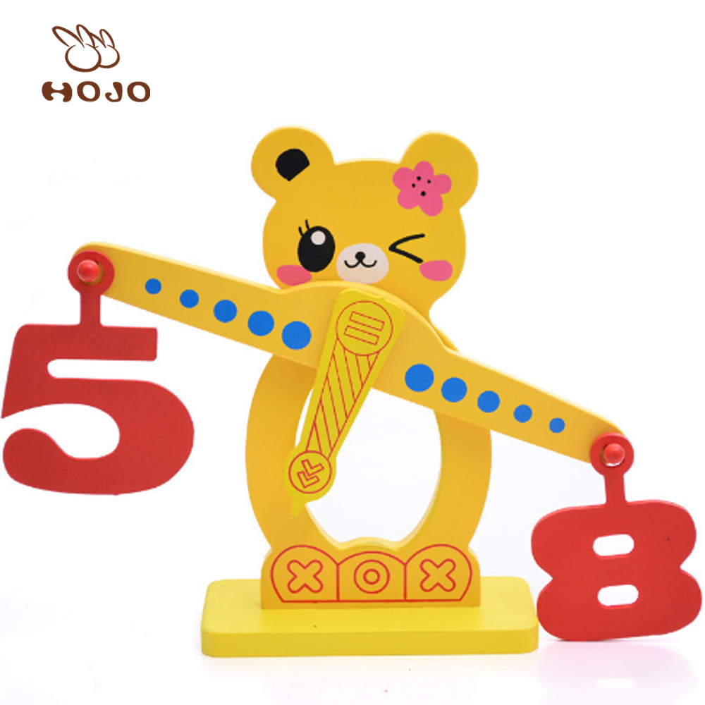 High Quality Wood Small Bear Digital Fruit Balance Scale Early Educational Wooden Imported Children Baby Toys Wholesale