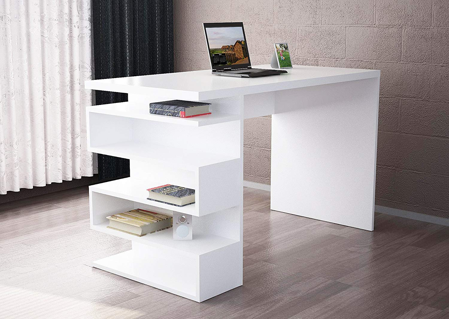 Buy Writing Computer Desk Modern Simple White One Color Simple Decorative Functional Classic Study Desk Industrial Style Study Laptop Table For Home Office Living Room Study Room In Cheap Price
