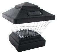Solar Powered Black Outdoor Garden Deck Dock Patio 4x4 Fence LED Post Light