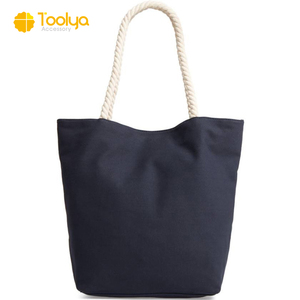 Factory direct sale high quality cotton rope handles canvas beach bag