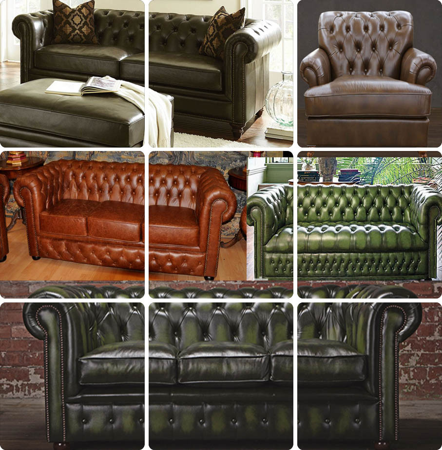 High End Leather Sofa: Classic High-end Antique Chesterfied Leather Sofa