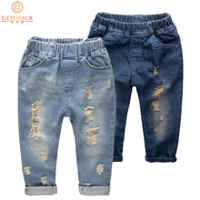 Kindstraum Children Ripped Jeans Autumn Spring Girls Denim Hollow Out Trousers for Boys Kids Pants Girls