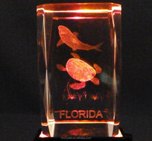 FLORIDA Sea Life Shark & Turtle 3D Laser Etched Crystal Glass Cube Paperweight MH-TF048