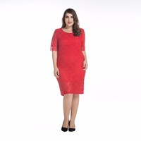 red lace formal long sleeve dress for plus size women