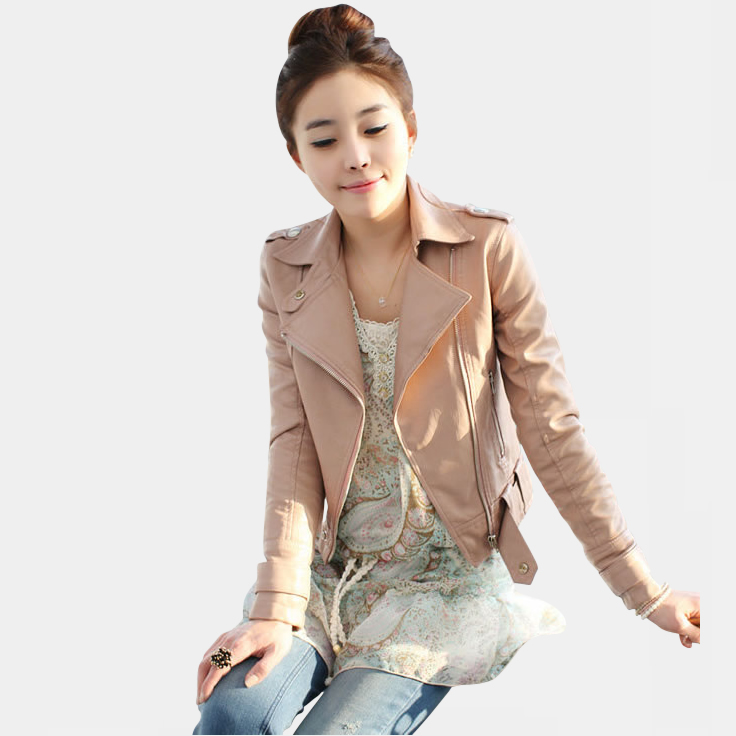 Leather Jacket women 2014 spring women leather clothing outerwear jackets and coats ladies Pink leather coat motorcycle leather