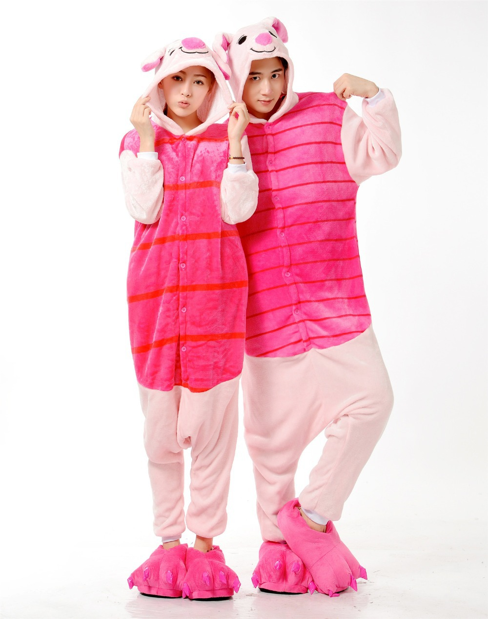 fcd9b82f5d78 Get Quotations · New Adult Onesie Unisex Pajamas Cosplay Japan Costumes  Cute Animal Cartoon Piglet Onesies Pyjamas Sleepwears Pink