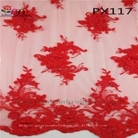 2017 latest product beautiful beads 3d embroidery lace fabric with flower for bridal lace