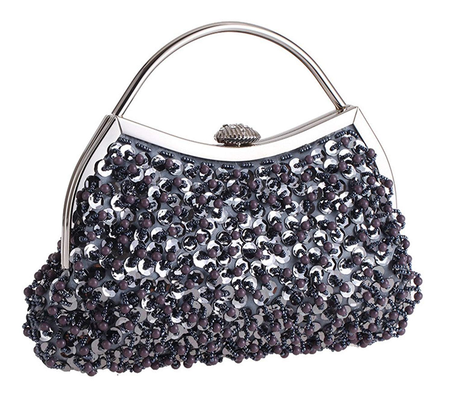 Sparkly Jewels Beaded Evening Clutch Bag Metal Top-handle Formal Purse Bag whith Detachable Chain