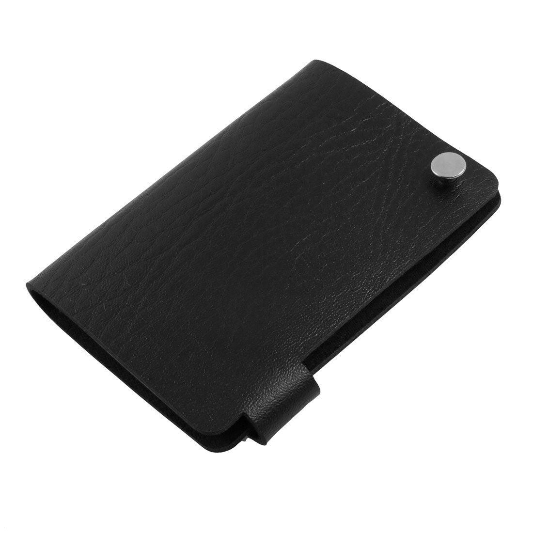 Uxcell Faux Leather Textured 10 Pockets Business Card Case Wallet, Black
