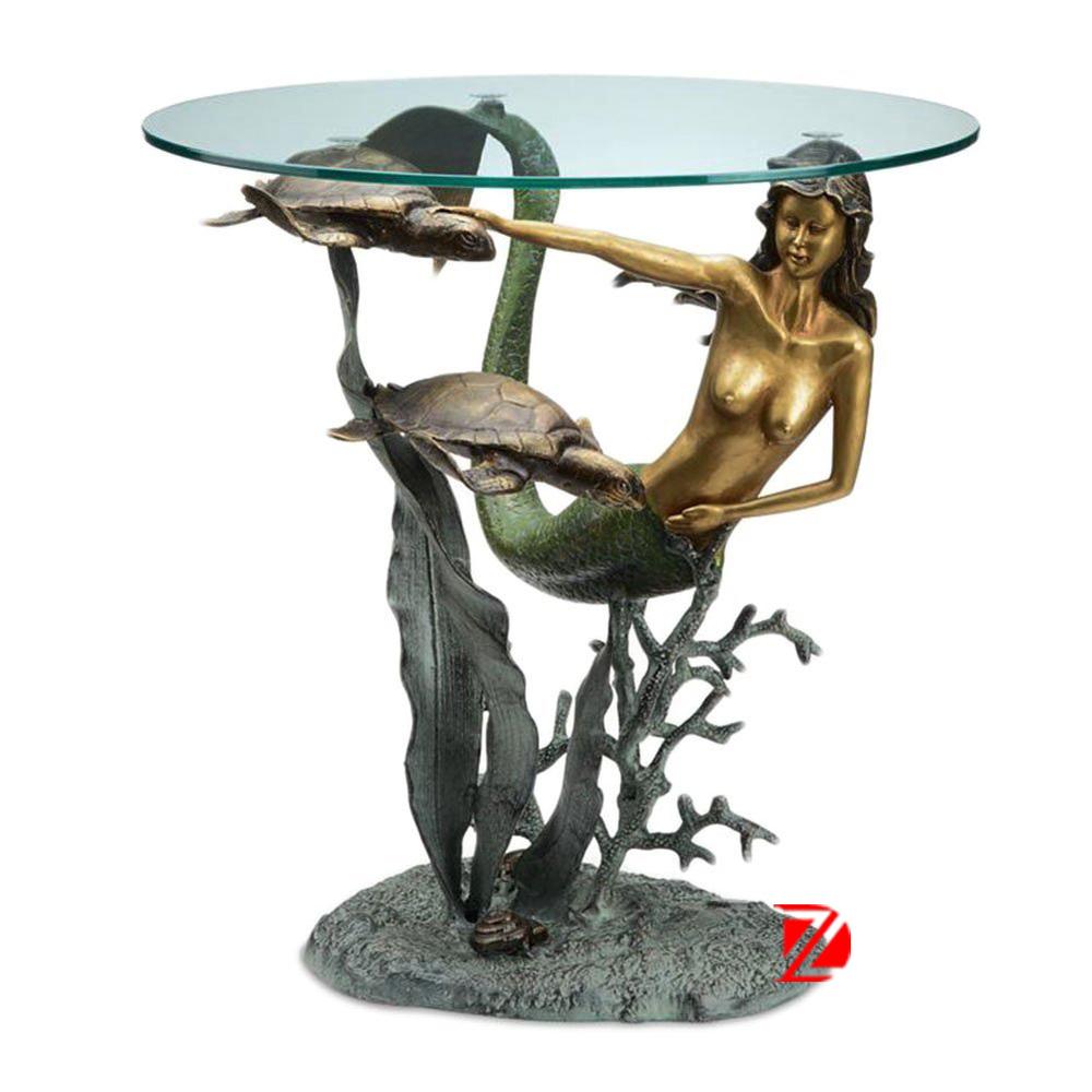 Bronze Decorative Furniture Unique Table Base With Mermaid Statue ...