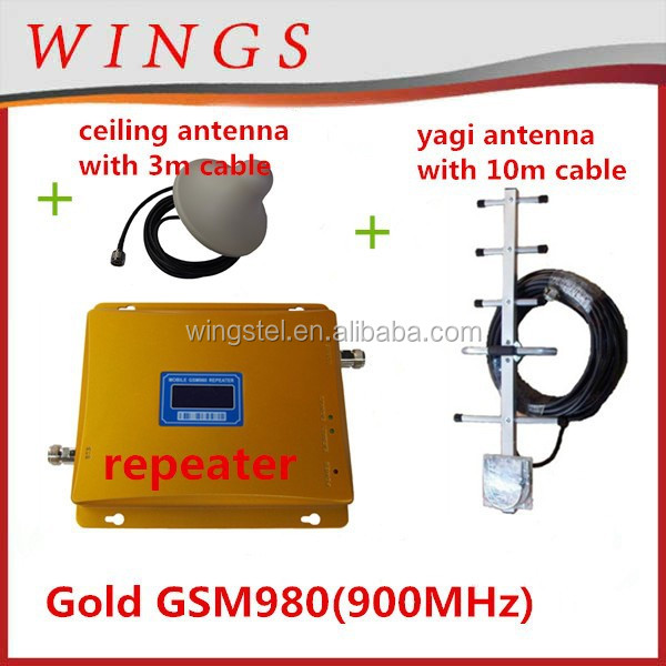900mhz boostergold GSM980 set cellphone signal repeater+power adaptor+outdoor yagin antena with 10m cable+indoor ceiling antenna