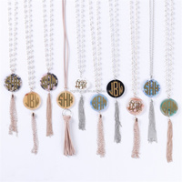 Druzy Blanks Personality Monogrammed Tassel Necklace